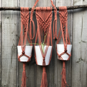 Macrame Hanging Pot Holder - Trixie - Meet Trixie - a light copper coloured, three pot hanging pot holder. She has such a lovely warmth about her. With the cold weather on its way, this macrame plant holder will add a bit of Autumn colour to your decor. This is a real statement piece, with room for three pots, it would look gorgeous hanging in a conservatory or kitchen window. There's definitely a spot for it somewhere in your home!  Dimensions: approx W:72cm (length of stick) L: 96cm Pots not included.  As these are all handmade pieces they can be duplicated but they will never be an exact match. If you'd like this design in another colour, please ask, but keep in mind the bespoke nature of all macrame work. They truly are one-offs! Colours may vary due to your screen settings and photography.